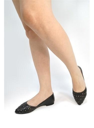 Ballerins Hakiki Deri El Yapımı Siyah Babet Blrs-112 Siyah